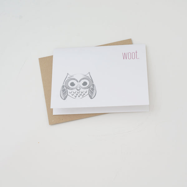 WOOT Owl Modern Funny Greeting Card - shop greeting cards, handmade stationery, & wedding invitations by dodeline design - 1