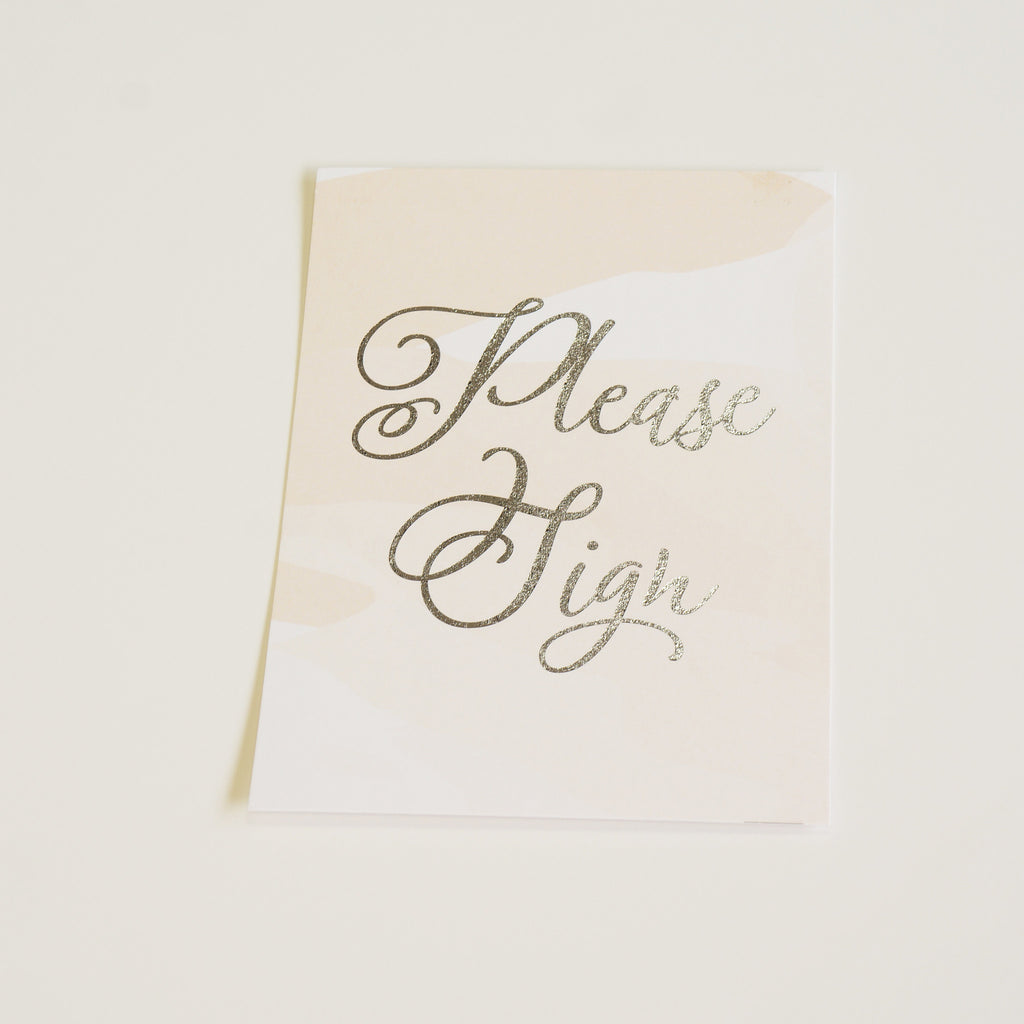 Please Sign | Wedding Sign | Silver Foil - shop greeting cards, handmade stationery, & wedding invitations by dodeline design - 1