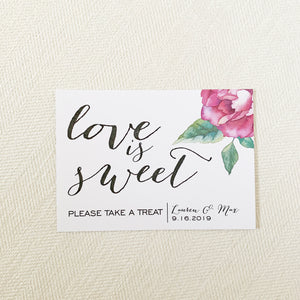 Watercolor Flower Love is Sweet Sign