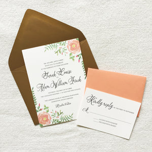 Flora | Wedding Invitation Suite - shop greeting cards, handmade stationery, & wedding invitations by dodeline design - 2