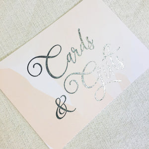 Cards & Gifts Sign | Silver Foil - shop greeting cards, handmade stationery, & wedding invitations by dodeline design - 3