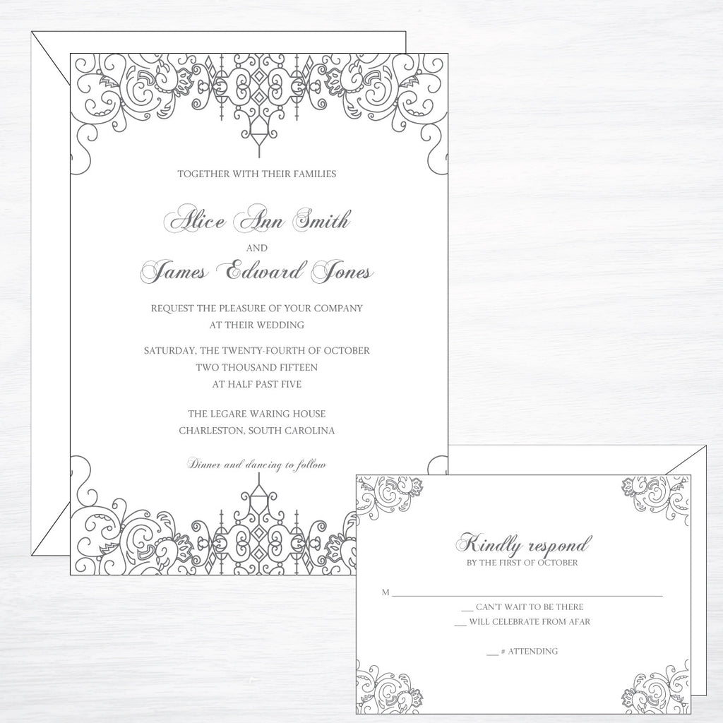 Scrollwork | Wedding Invitation Suite - shop greeting cards, handmade stationery, & wedding invitations by dodeline design - 1
