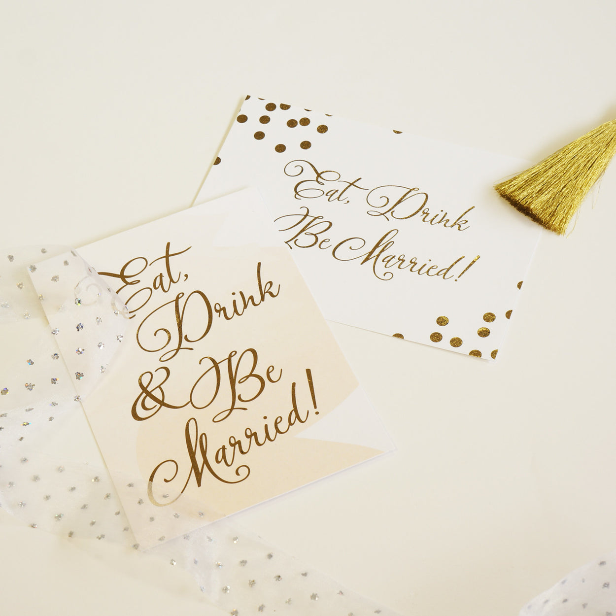 Eat Drink & Be Married | Confetti Gold Foil - shop greeting cards, handmade stationery, & wedding invitations by dodeline design - 3