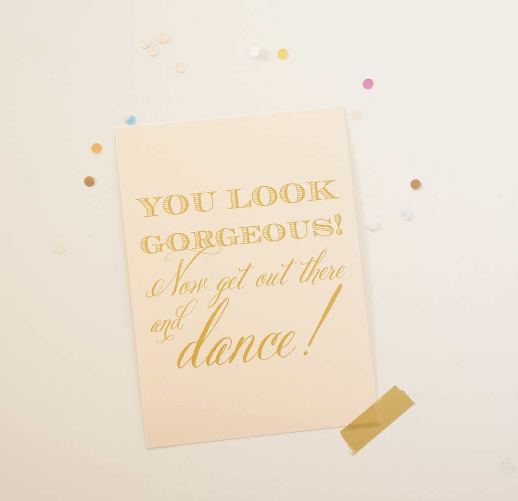 Blush and Gold Bathroom Wedding Sign - shop greeting cards, handmade stationery, & wedding invitations by dodeline design
