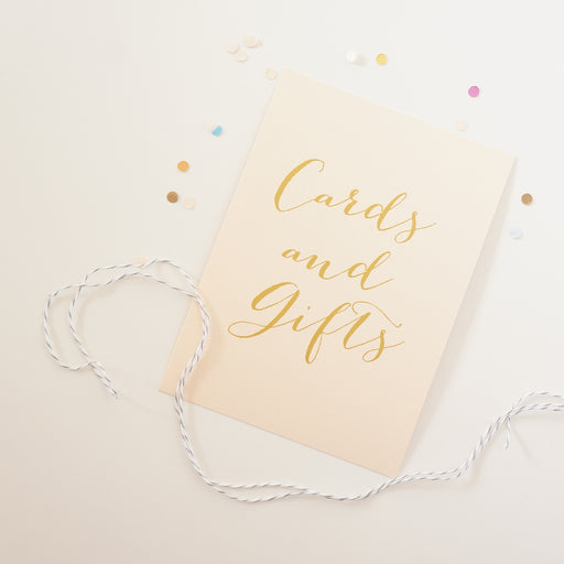 Blush and Gold Cards and Gifts Sign - shop greeting cards, handmade stationery, & wedding invitations by dodeline design