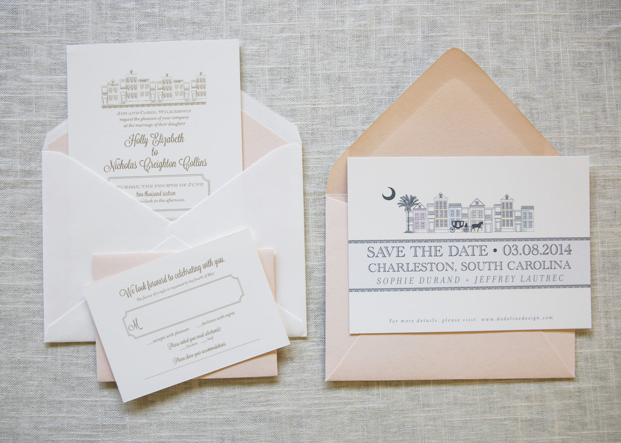 Charleston | Wedding Invitation Suite - shop greeting cards, handmade stationery, & wedding invitations by dodeline design - 5