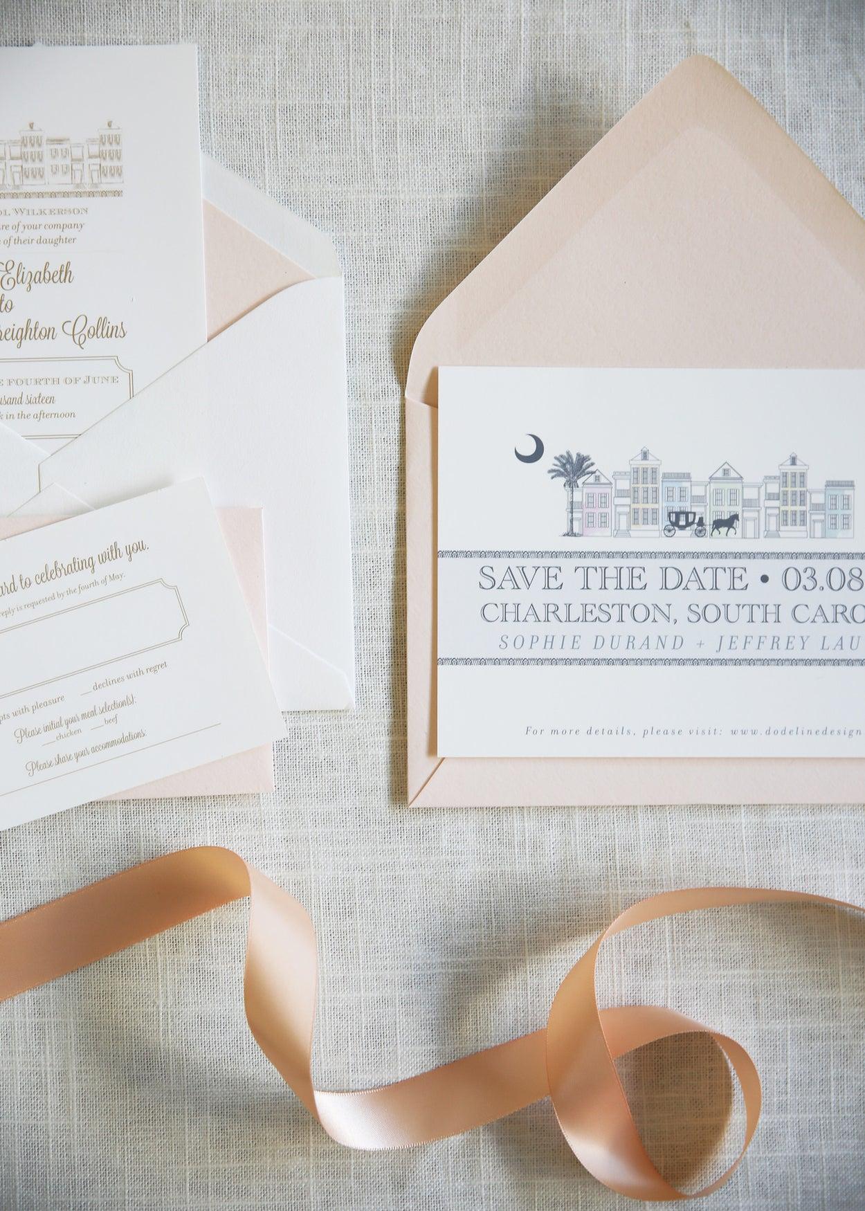Charleston | Wedding Invitation Suite - shop greeting cards, handmade stationery, & wedding invitations by dodeline design - 6