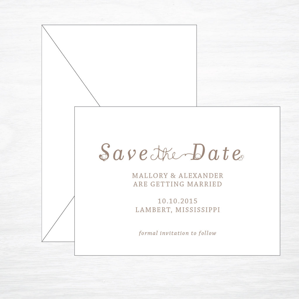 Cotton | Wedding Save the Date - shop greeting cards, handmade stationery, & wedding invitations by dodeline design - 1