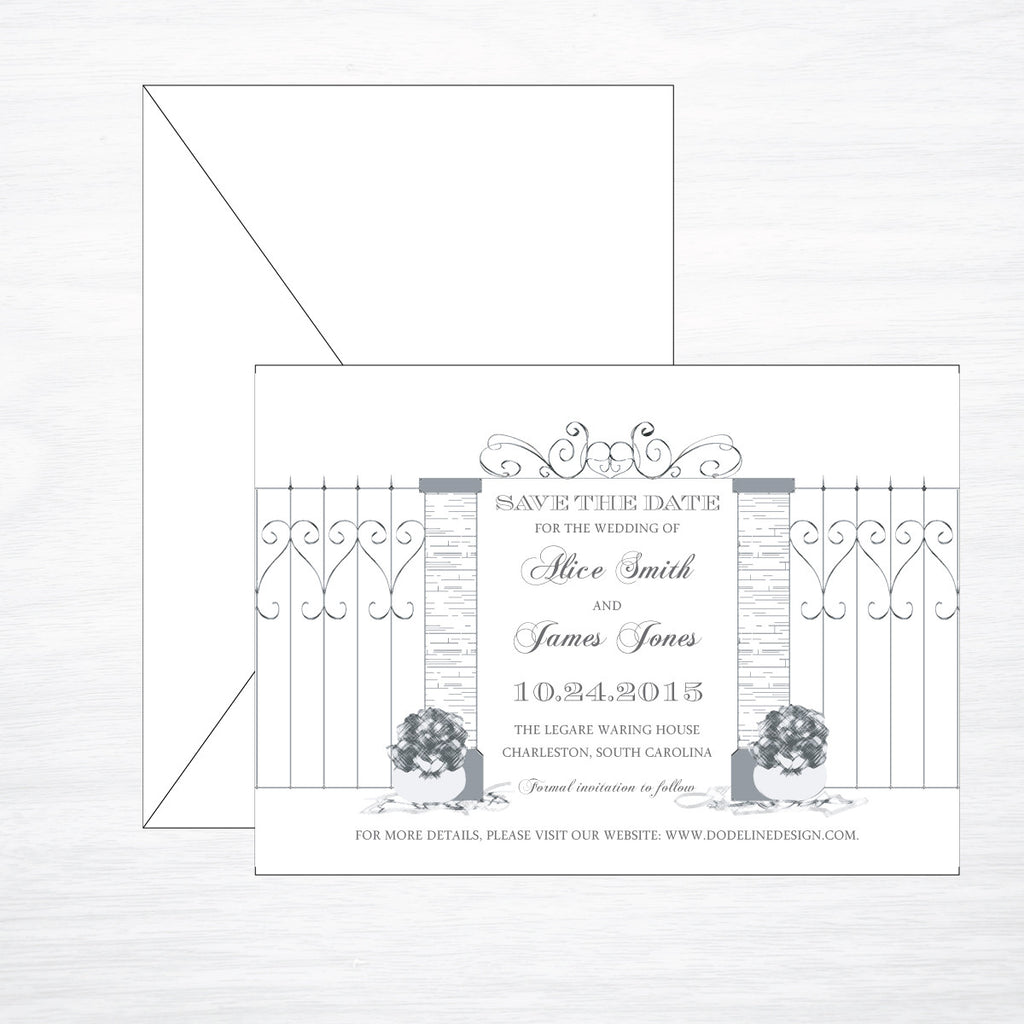 Scrollwork | Wedding Save the Date - shop greeting cards, handmade stationery, & wedding invitations by dodeline design - 1