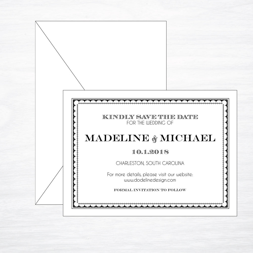 Gatsby | Wedding Save the Date - shop greeting cards, handmade stationery, & wedding invitations by dodeline design - 1