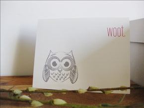 WOOT Owl Modern Funny Greeting Card - shop greeting cards, handmade stationery, & wedding invitations by dodeline design - 4
