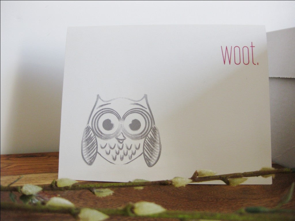 WOOT Owl Modern Funny Greeting Card - shop greeting cards, handmade stationery, & wedding invitations by dodeline design - 5