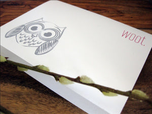 WOOT Owl Modern Funny Greeting Card - shop greeting cards, handmade stationery, & wedding invitations by dodeline design - 6
