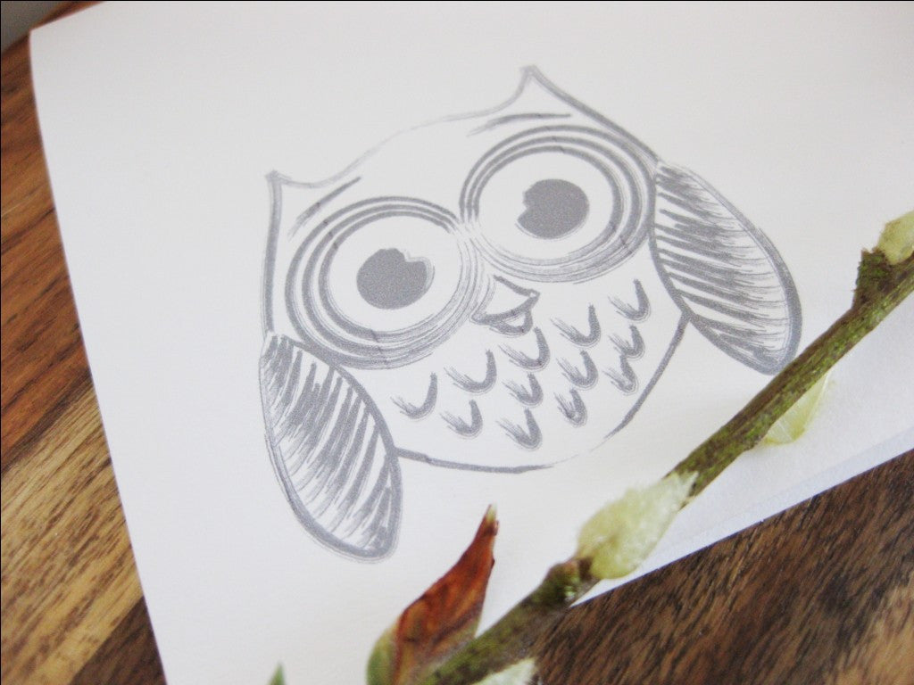 WOOT Owl Modern Funny Greeting Card - shop greeting cards, handmade stationery, & wedding invitations by dodeline design - 3