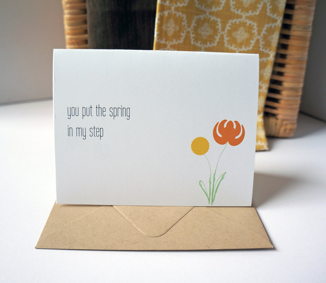 You Put the Spring in My Step Modern Greeting Card - shop greeting cards, handmade stationery, & wedding invitations by dodeline design - 2
