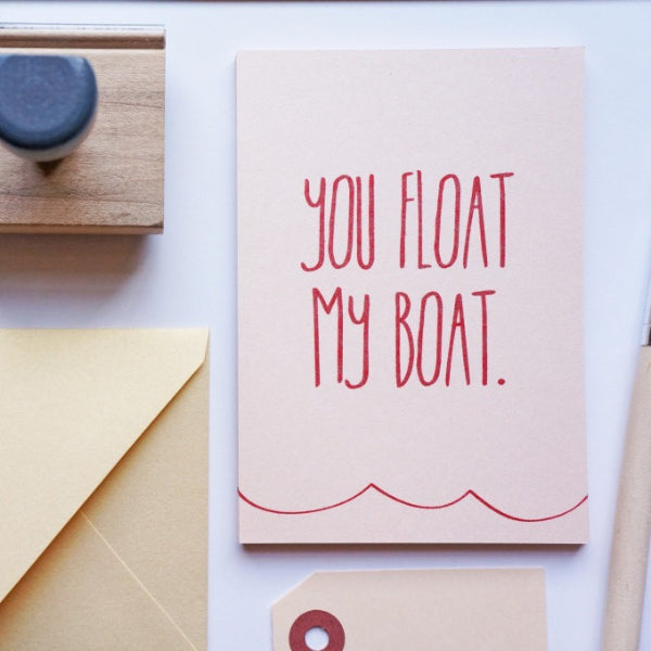 You Float My Boat Valentine's Card, Valentine - shop greeting cards, handmade stationery, & wedding invitations by dodeline design