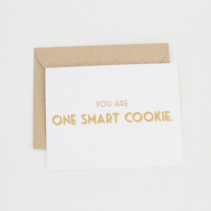 You Are One Smart Cookie Modern Greeting Card - shop greeting cards, handmade stationery, & wedding invitations by dodeline design - 1