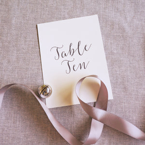 Navy Calligraphy Table Numbers
