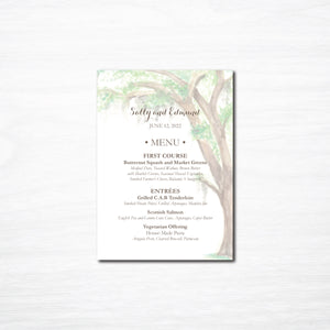Oak Tree Wedding Menu