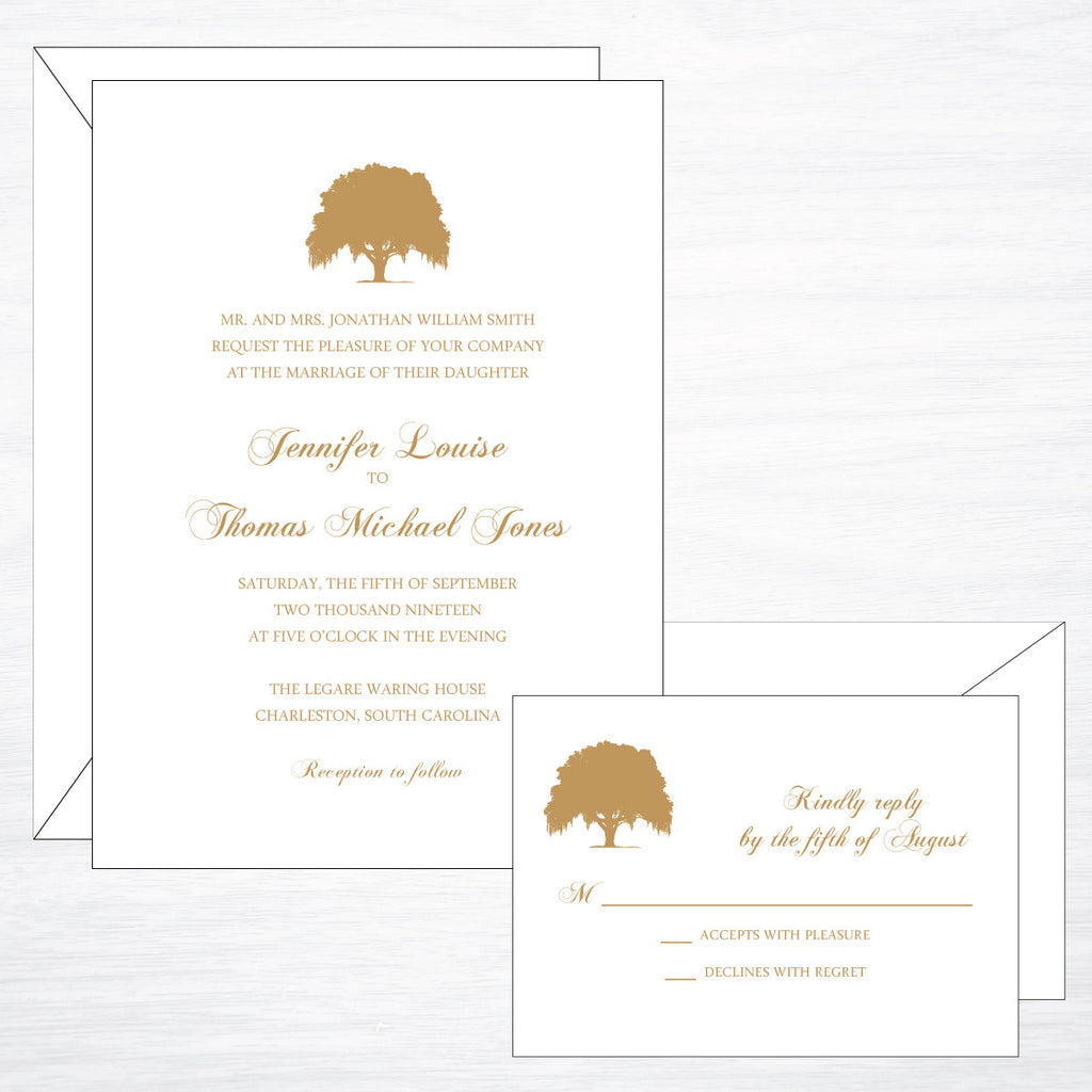Oak | Wedding Invitation Suite - shop greeting cards, handmade stationery, & wedding invitations by dodeline design - 1
