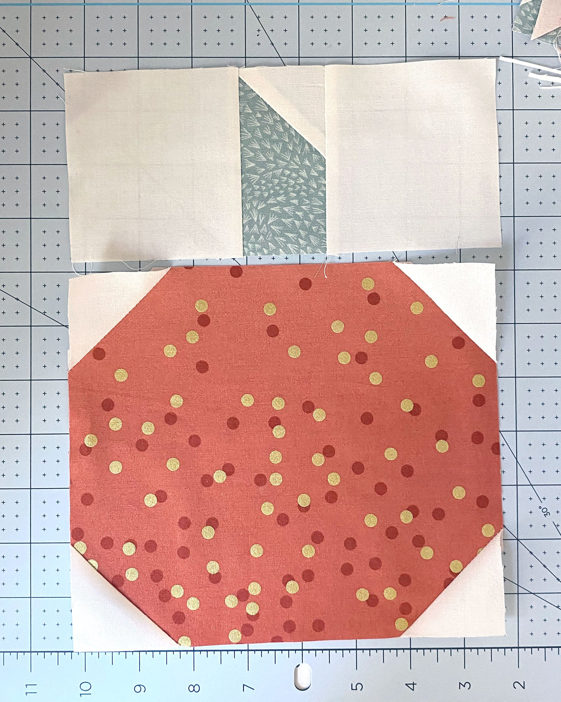 Pumpkin Quilt Block tutorial - sew top and bottom pieces together