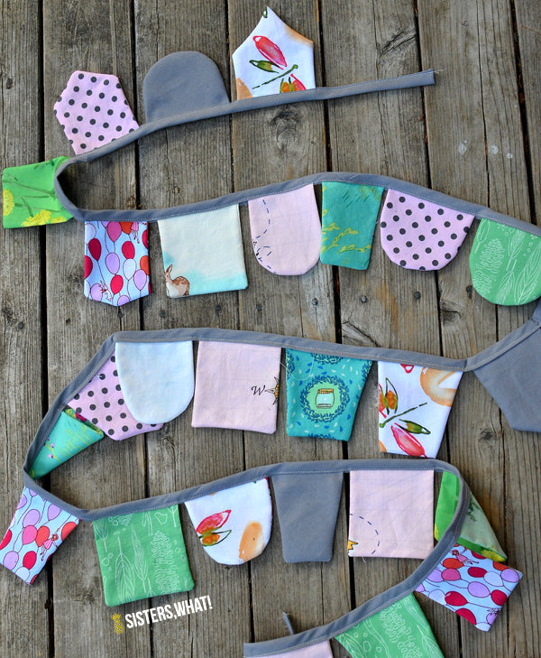 Scrap fabric banner tutorial from Sisters What