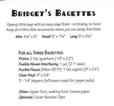 Bridget's Bagettes sewing pattern by Atkinson Design