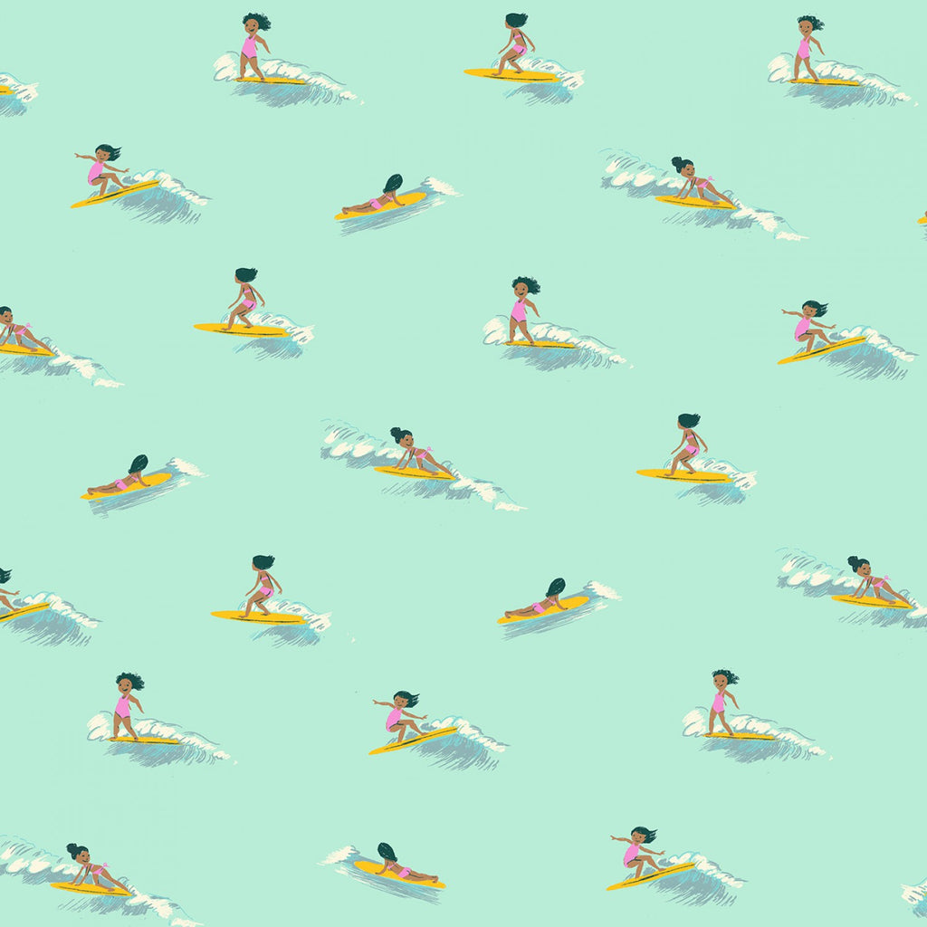 Malibu, Tiny Surfers in Sea Foam COTTON LAWN (PREORDER)