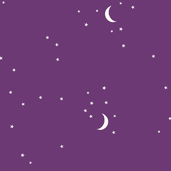 Moon and Stars in Aubergine