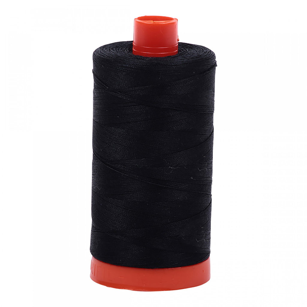 Aurifil 50wt Cotton Mako thread (1422-yard spool) - Black