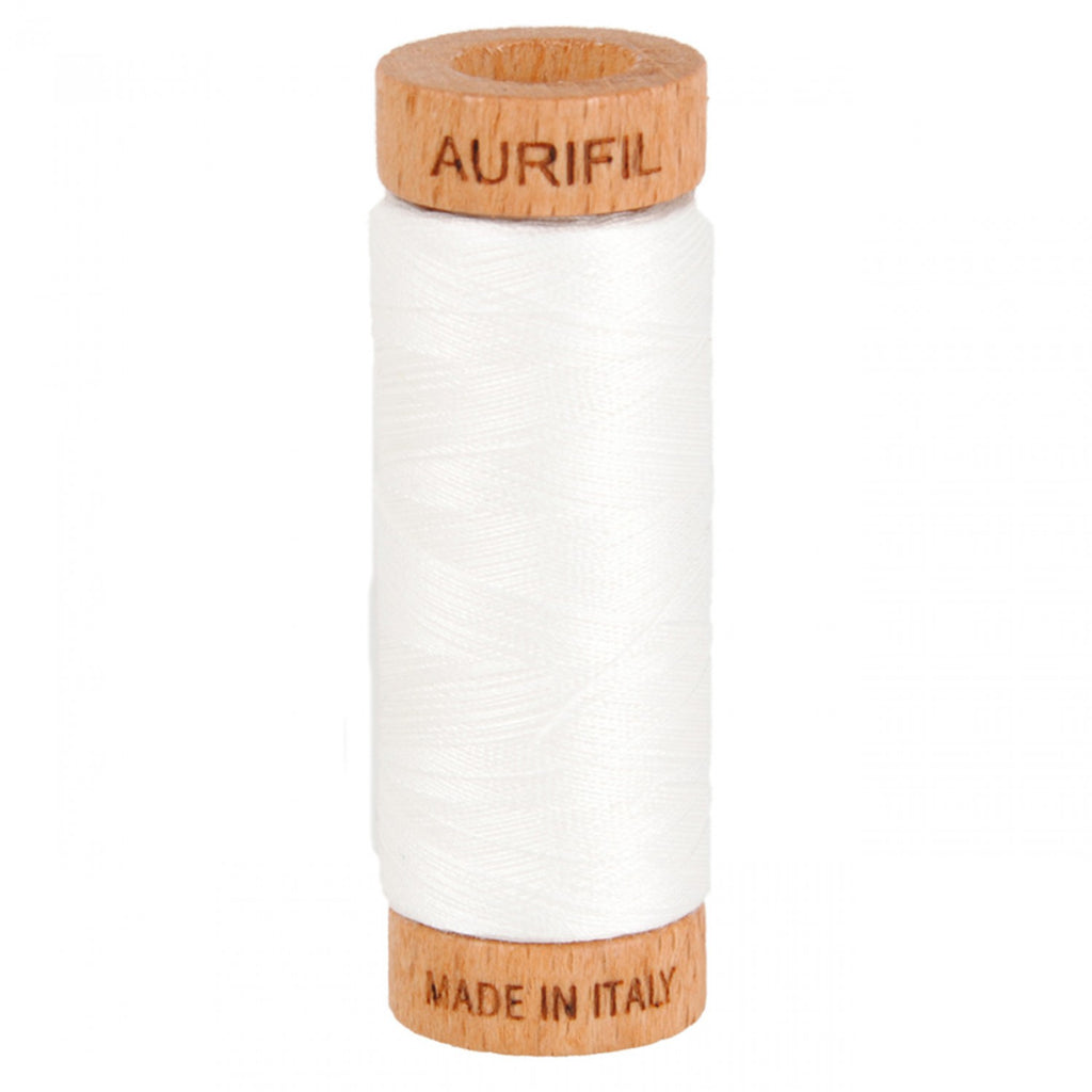 Aurifil 80wt Cotton Mako thread (300-yard spool) - Natural White