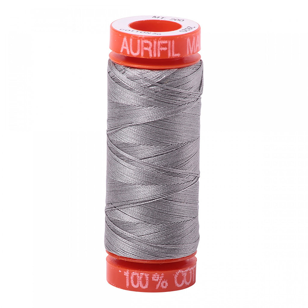 Aurifil 50wt Cotton Mako thread (220-yard spool) - Stainless Steel