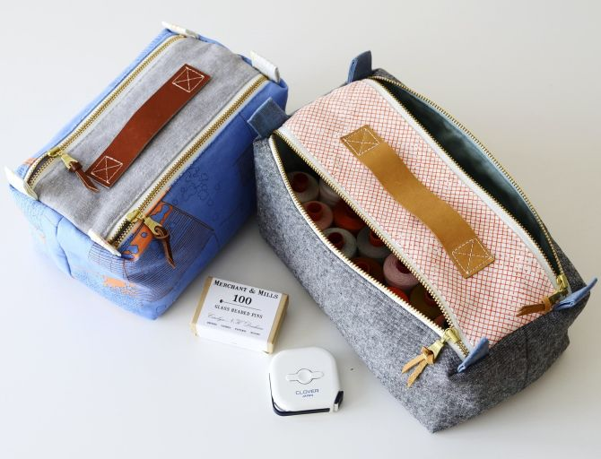 Double Zip Box Pouch by Aneela Hoey