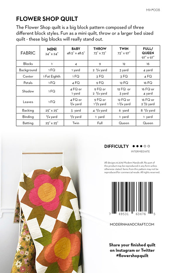 Flower Shop quilt pattern by Modern Handcraft