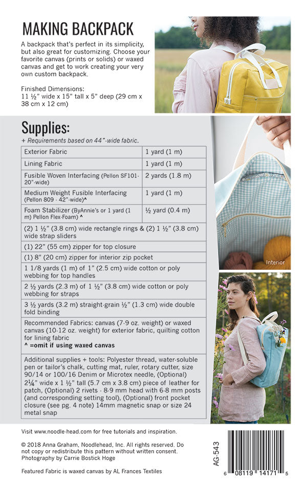 Making Backpack sewing pattern
