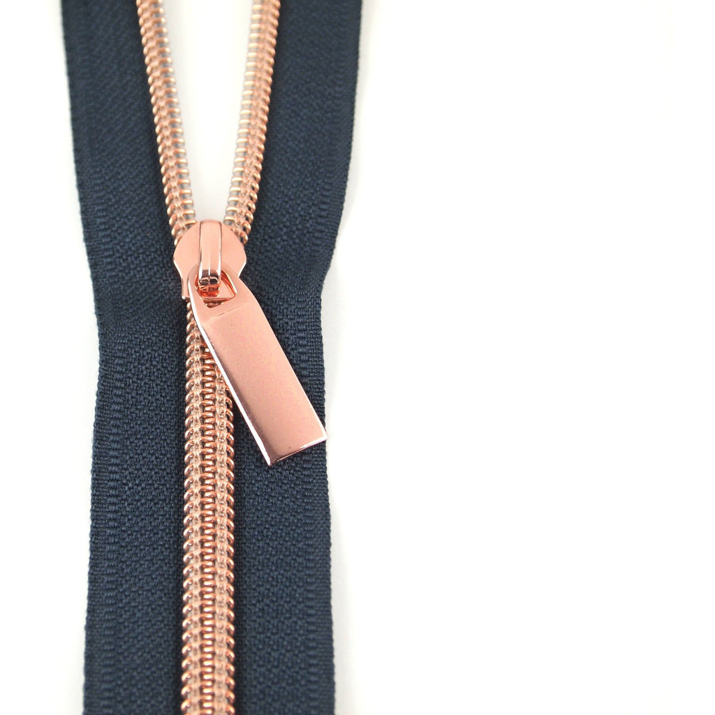 Navy Zippers by the yard