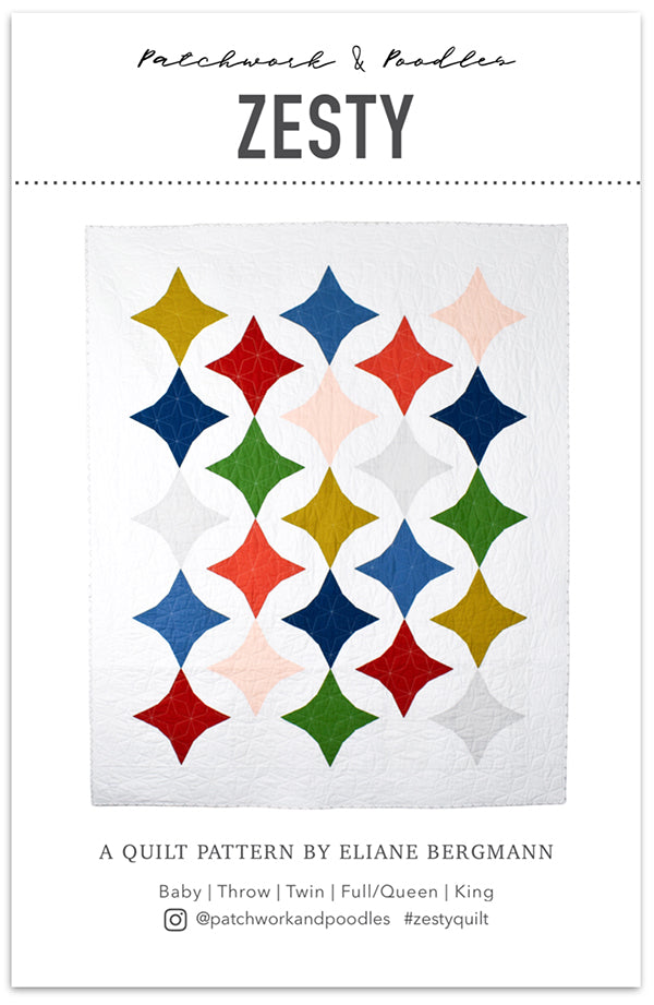 Zesty quilt pattern by Patchwork & Poodles