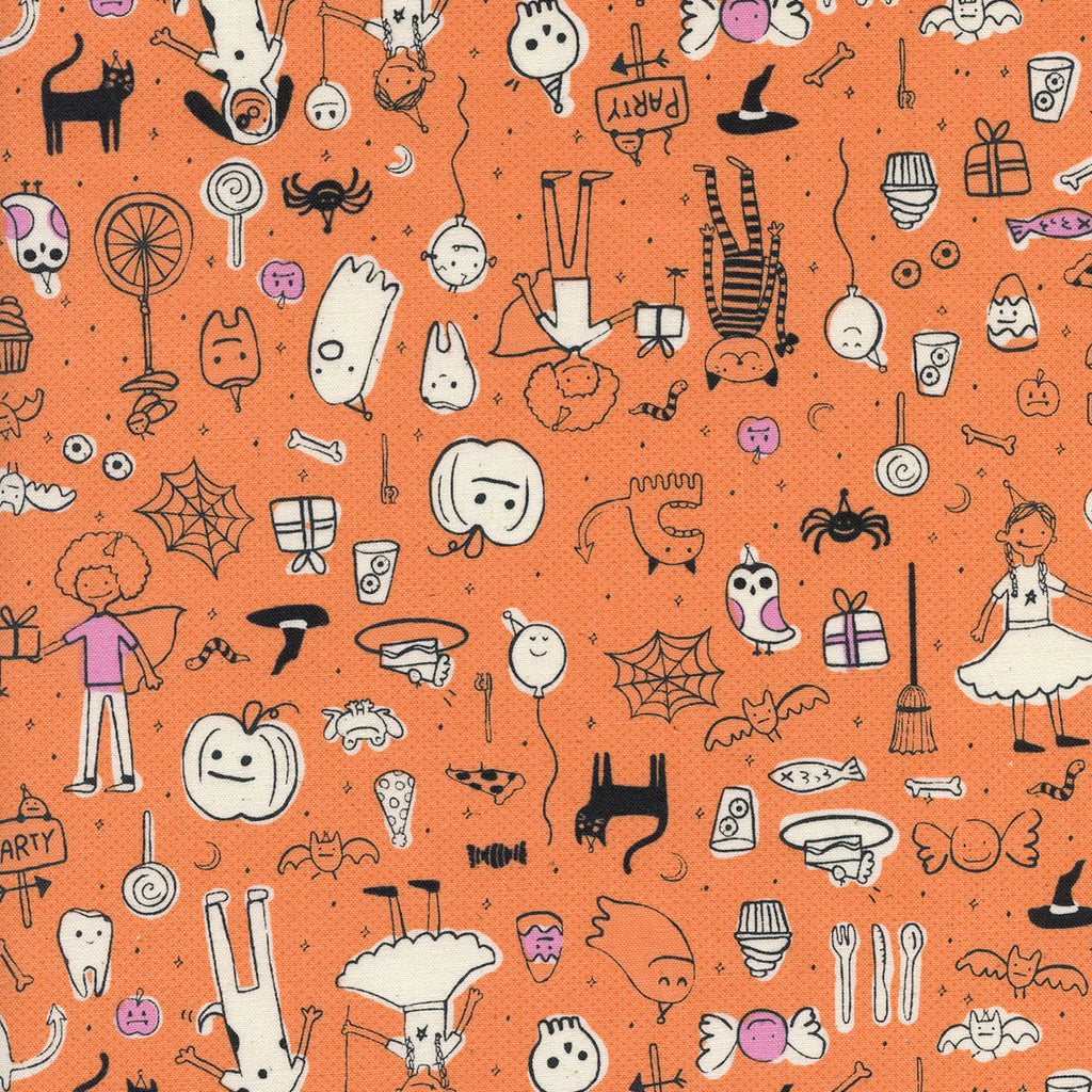 Lil' Monsters, Party in Orange (unbleached cotton)
