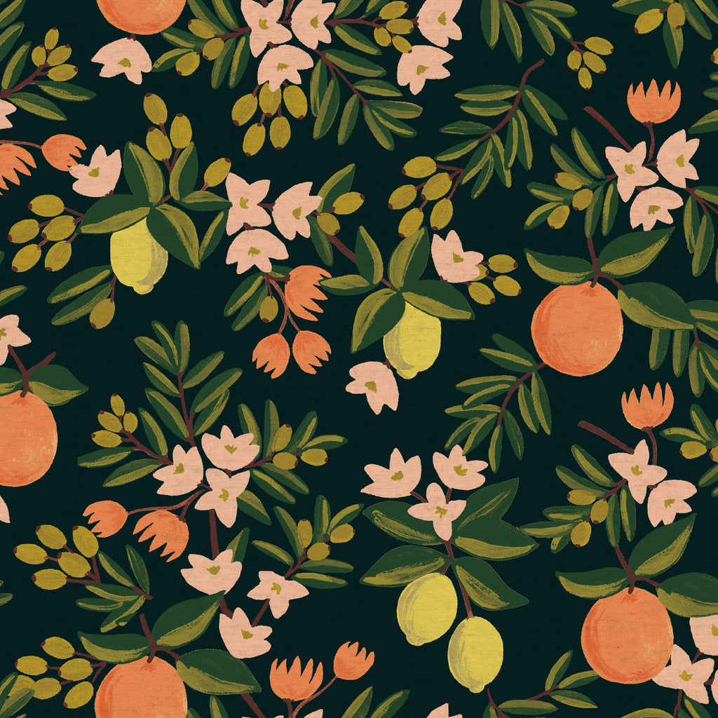 Primavera, Citrus Floral in Black (CANVAS)