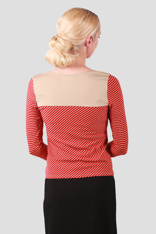 Venice Top Red Tan Stripe