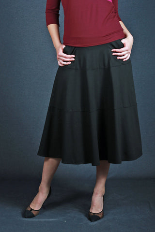 Risa Tiered Skirt Black