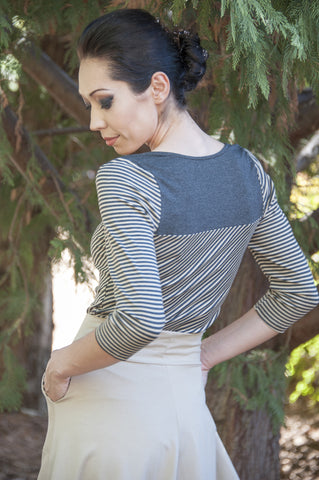 Venice Top Charcoal Stripe