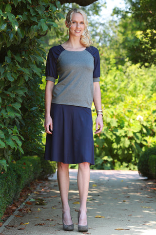 Verona Flared Skirt Navy Blue