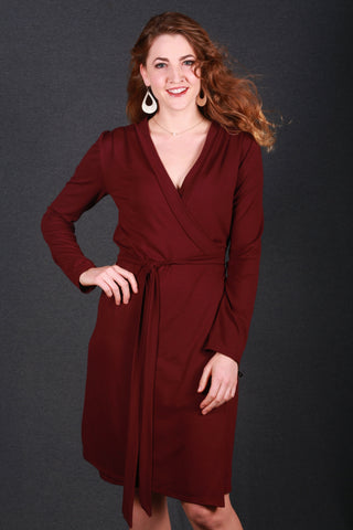 Anke Wrap Dress Maroon