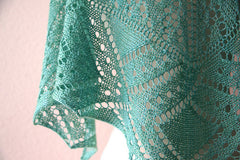 Green Peacock One Skein Shawl -- Instant Download