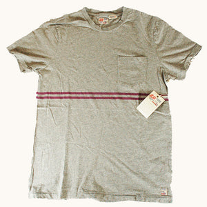 Double Stripe Tee - Heather Grey