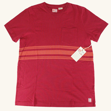 Double Stripe Tonal Tee | Red