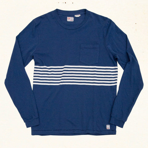 Heat Sheet Stripe L/S Tee | Blue Hawaii