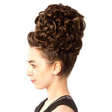 Load image into Gallery viewer, Keara Irish Dance Double Curl Hair Bun Wig Made in Ireland Side View CorrsIrishShoes.com