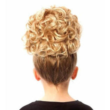 Load image into Gallery viewer, Keara Irish Dancing Single Curl Hair Bun Wig in Various Colors Reverse View CorrsIrishShoes.com